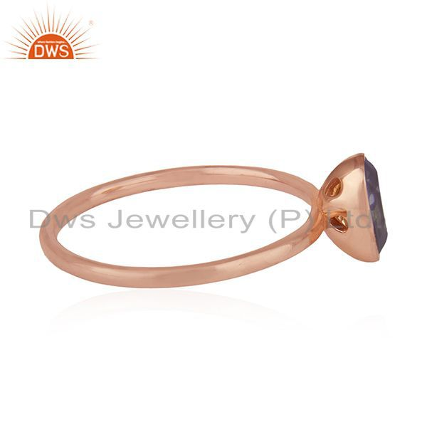 Exporter Iolite Gemstone Rose Gold Plated Handmade 925 Silver Wedding Ring Whlolesale