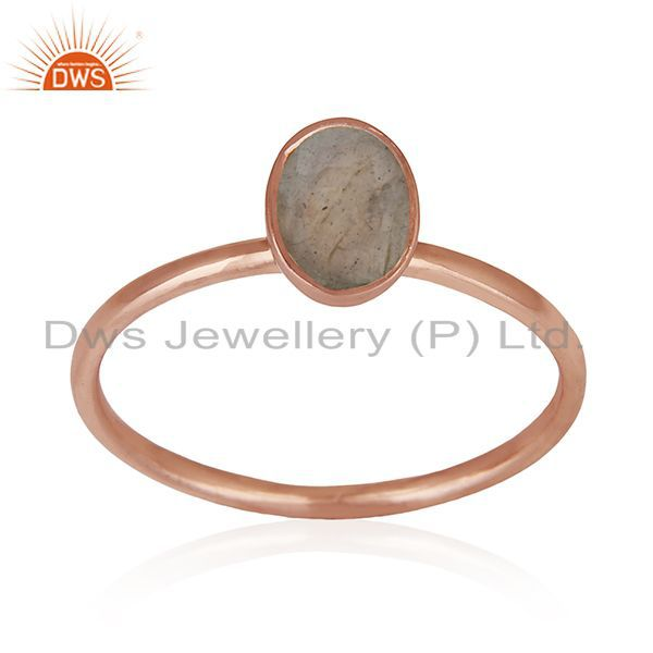 Exporter Natural Labradorite Gemstone Rose Gold Plated 925 Silver Ring Manufacturers