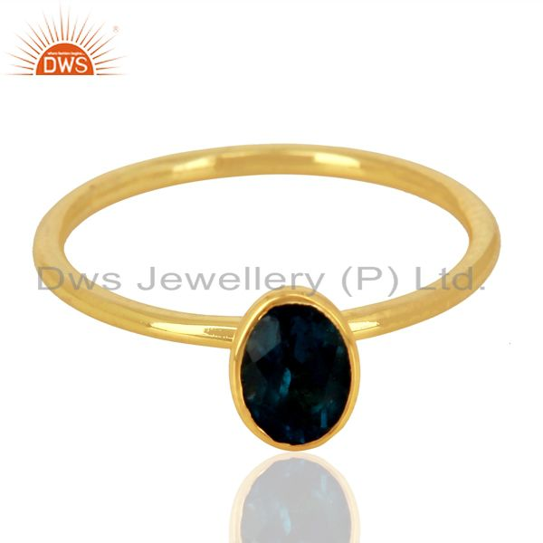 Exporter London Blue Topaz 925 Sterling Silver 14K Gold Plated  Rings Gemstone Jewellery
