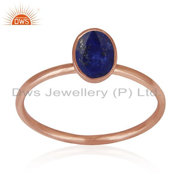 Exporter Handmade Rose Gold Plated 925 Silver Lapis Lazuli Gemstone Wedding Ring Supplier