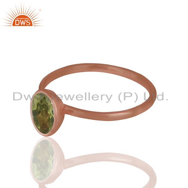 Exporter Peridot 925 Sterling Silver Rose Gold Plated Stack Rings Gemstone Jewellery