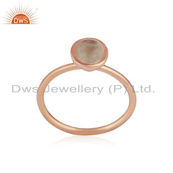Exporter Rose Gold Plated Sterling Silver Rainbow Moonstone Ring Supplier