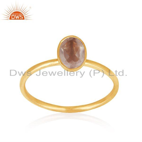 Exporter Rose Quartz Gemstone 18k Gold Plated Silver Girls Ring Jewelry Supplier
