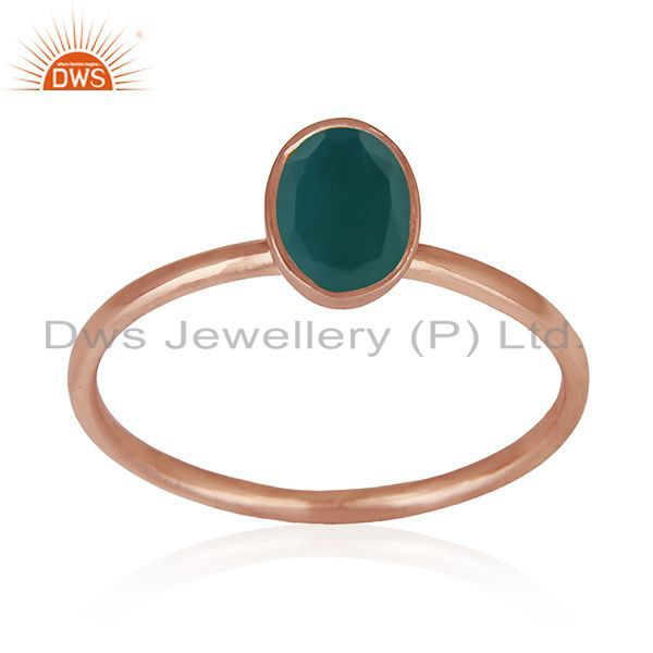 Exporter Green Onyx Gemstone 925 Silver Rose Gold Plated Wedding Ring Manufacturers