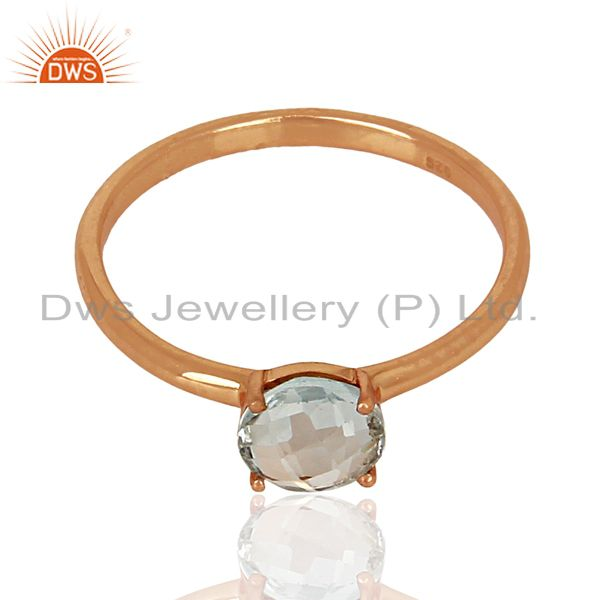 Exporter Blue Topaz 925 Sterling Silver Rose Gold Plated  Ring Gemstone Jewellery