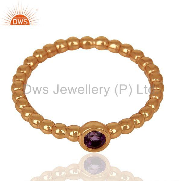 Exporter Amethyst Bubble Band Sterling Silver Rose Gold Plated Ring Gemstone Jewellery