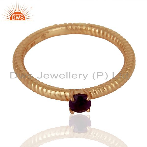 Exporter Amethyst Twist Band 925 Sterling Silver Rose Gold Plated Ring Gemstone Jewellery