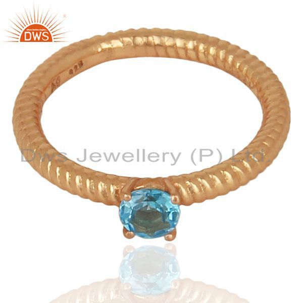 Exporter Blue Topaz Twist Band Sterling Silver Rose Gold Plated Ring Gemstone Jewellery
