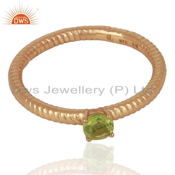 Exporter Peridot Twist Band 925 Sterling Silver Rose Gold Plated Ring Gemstone Jewellery
