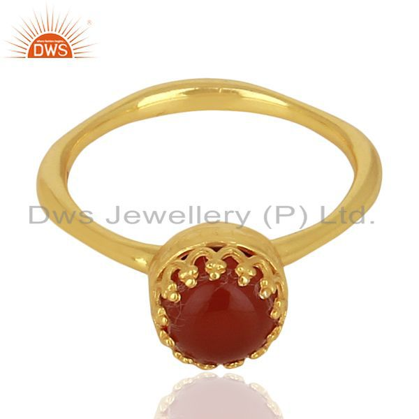 Exporter Crown Designer Gold Plated Silver Carnelian Gemstone Womens Ring