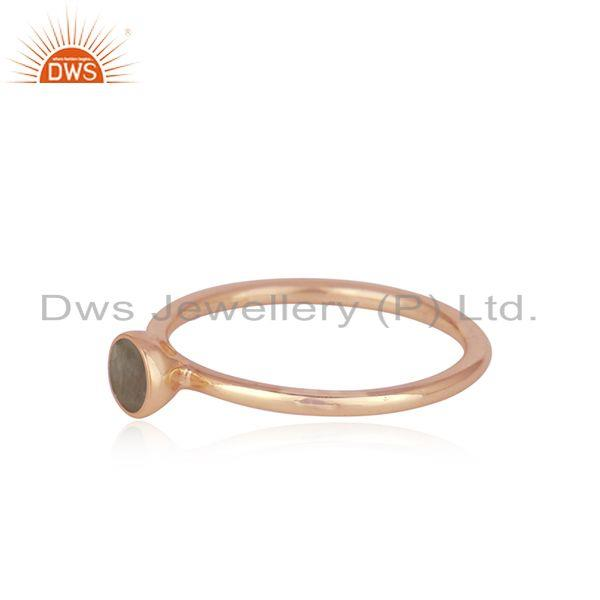 Exporter Aqua Chalcedony Gemstone Rose Gold Plated 925 Silver Ring Wholesaler