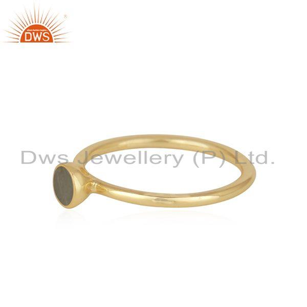 Exporter Chalcedony Gemstone Gold Plated Sterling Silver Ring Manufacturer