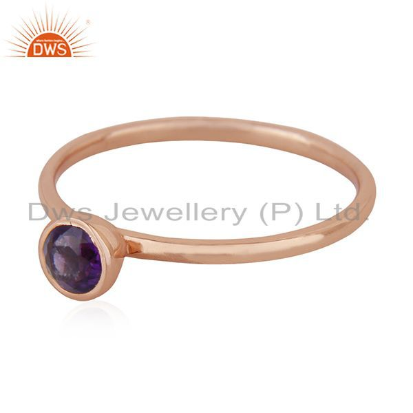 Exporter Natural Amethyst Birthstone Rose Gold Plated 925 Silver Wedding Ring Suppliers