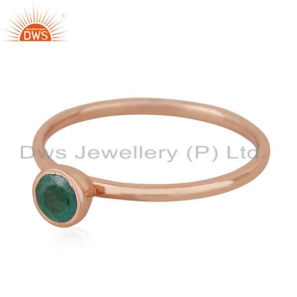 Exporter Emerald Birthstone 925 Silver Rose Gold Plated Wedding Ring Manufacturer India