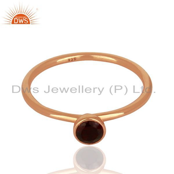 Exporter Garnet 925 Sterling Silver Rose Gold Plated Stack Rings Gemstone Jewellery