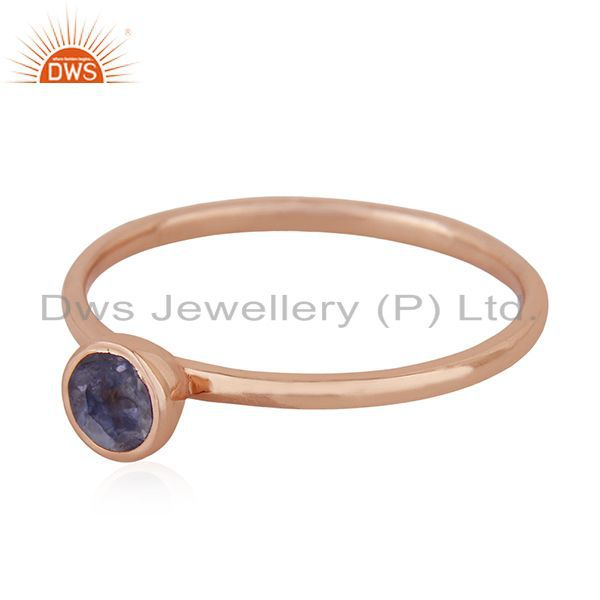 Exporter Natural Iolite Gemstone 925 Silver Rose Gold Plated Wedding Ring Manufacturer