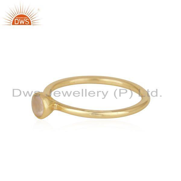 Exporter Chaledony Gemstone Gold Plated Sterling Silver Ring Wholesaler