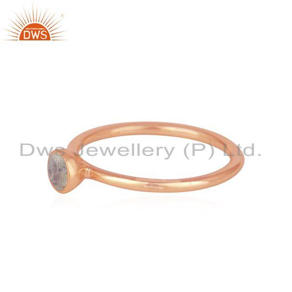 Exporter Rainbow Moonstone Rose Gold Plated 925 Silver Rings Manufacturer