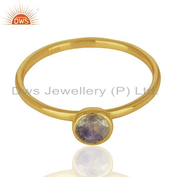 Exporter Rainbow Moonstone Gold Plated 925 Silver Gemstone Ring Jewelry