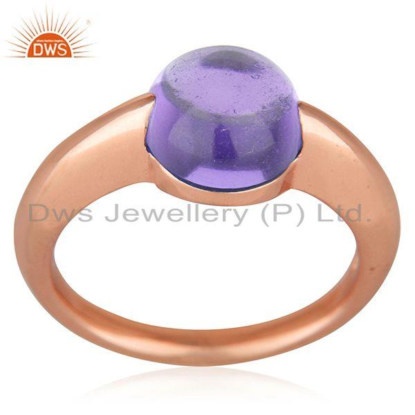 Exporter Natural Amethyst Gemstone Rose Gold Plated 925 Silver Ring Jewelry