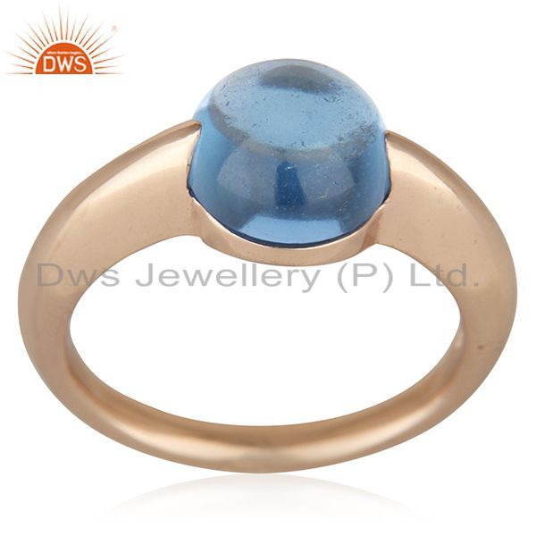 Exporter Blue Topaz Eye of the Beholder Tension Sterling Silver Rose Gold Plated  Rings