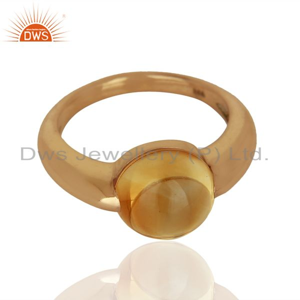 Exporter Citrine Eye of the Beholder Tension Sterling Silver Rose Gold Plated  Rings