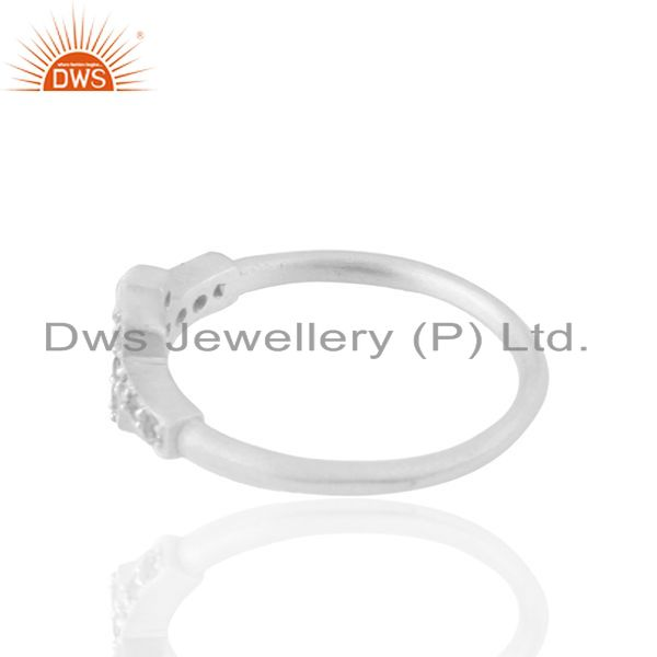 Exporter White Zircon Double Cross Charm 925 Silver Ring Jewelry Manufacturers