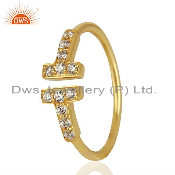 Exporter Cz Double Cross Curved Bar 925 Sterling Silver 14K Gold Plated Ring Jewellery
