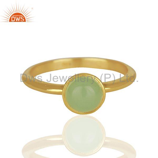 Exporter Designer 925 Silver Gold Plated Aqua Chalcedony Gemstone Rings Jewelry