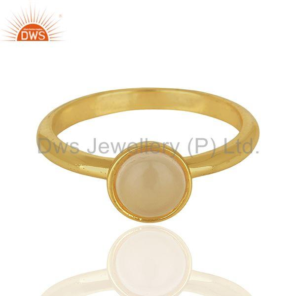 Exporter Designer Rose Chalcedony Gemstone Yellow Gold Plated Silver Rings