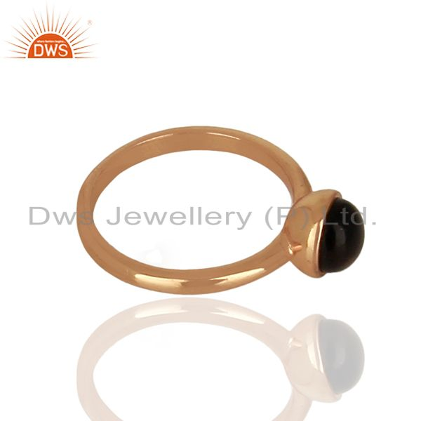 Exporter Smoky Topaz 925 Sterling Silver Rose Gold Plated Stack Rings Gemstone Jewellery