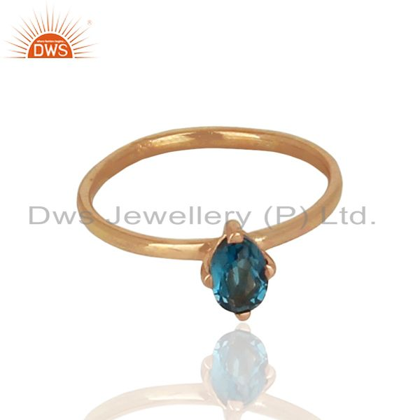 Exporter London Blue Topaz Sterling Silver Rose Gold Plated  Rings Gemstone Jewellery