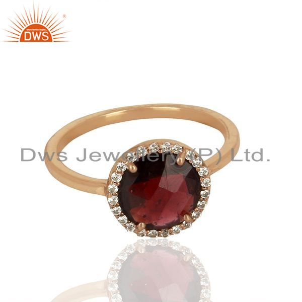 Exporter Garnet With cz Sterling Silver Rose Gold Plated Stack Rings Gemstone Jewellery