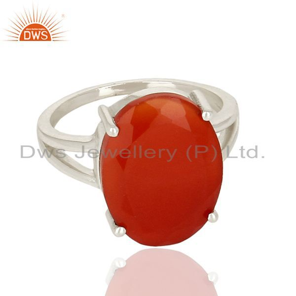 Exporter Red Onyx Flat Stone Oval Shape 92.5 Sterling Silver Wholesale Silve Ring