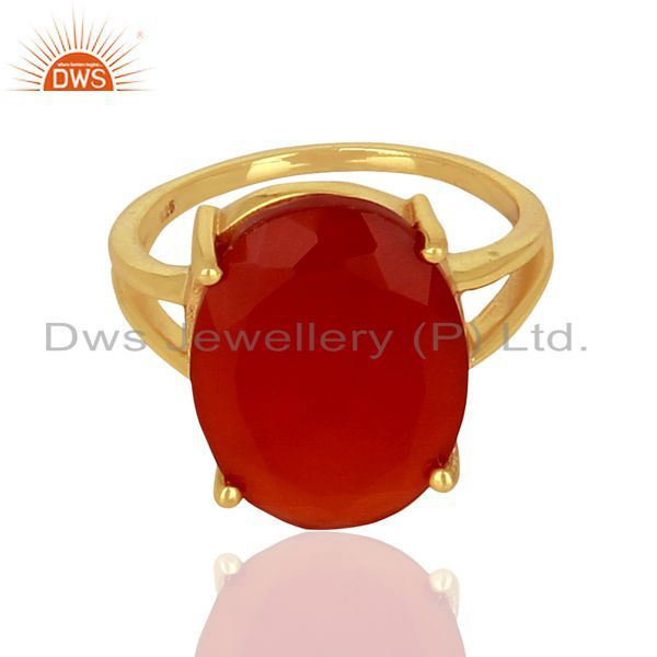Exporter Red Onyx Flat Stone Oval Shape 14 K Gold Plated Wholesale Silve Ring