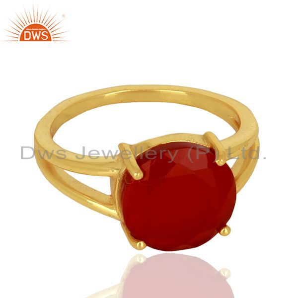 Exporter Red Onyx Flat Stone Round Shape 14 K Gold Plated Wholesale Silve Ring