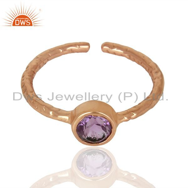 Exporter Amethyst Adjustable Rose Gold Plated Wholesale Sterling Silver Ring