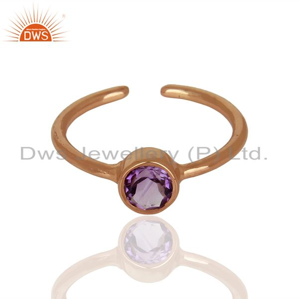 Exporter Rose Gold Plated Natural Amethyst Gemstone Ring Jewelry Wholesale