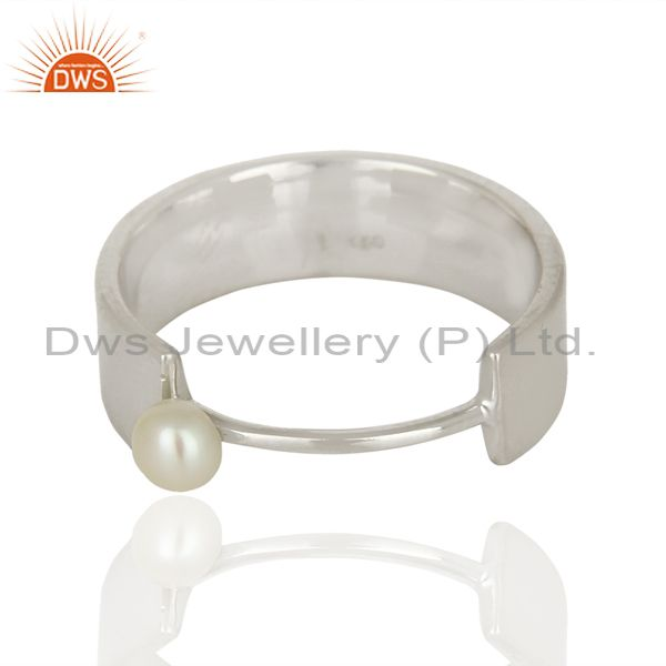 Exporter Sterling Fine Silver Pearl Gemstone Band Ring Jewelry Manufacturer