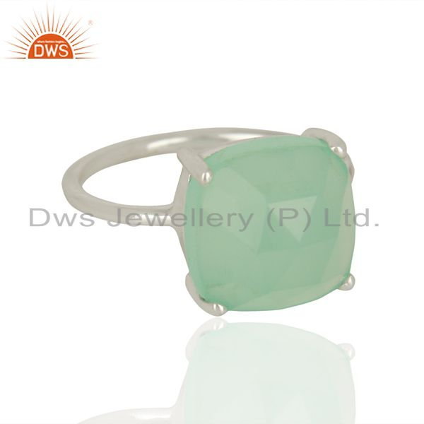 Exporter 925 Sterling Fine Silver Aqua Chalcedony Gemstone Rings Manufacturer