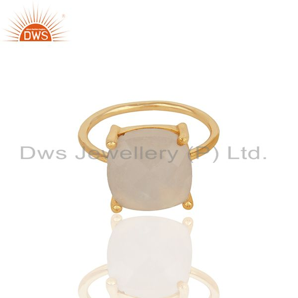 Exporter Prong Set Rainbow Moonstone Gold Plated 925 Silver Girls Rings Jewelry