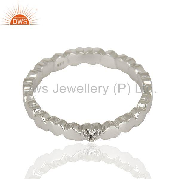 Exporter White Topaz Heart Shape 925 Sterling Silver Band Ring Jewelry