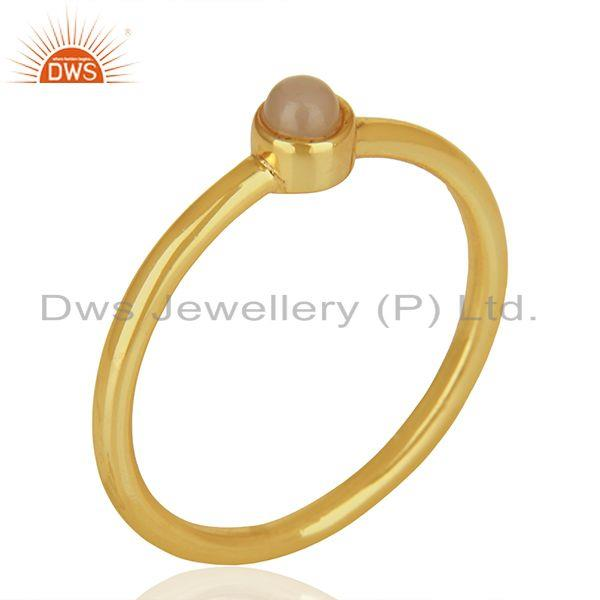 Exporter Rose Chalcedony Gemstone Gold Plated 925 sterling Silver Ring Jewelry