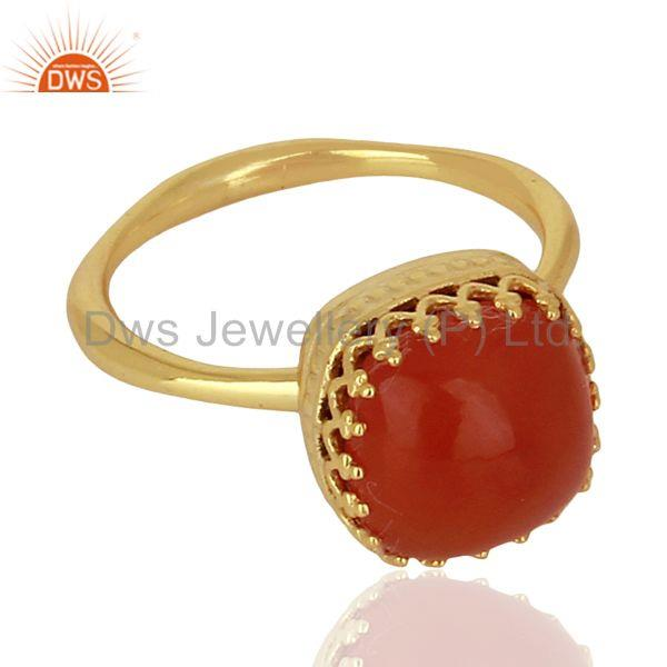 Designers Indian Gold Plated 925 Silver Crown Design Gemstone Ring Jewelry