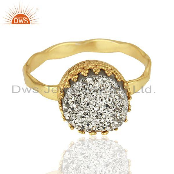 Exporter Silver Druzy Gemstone Gold Plated 925 Silver Designer Ring Suppliers