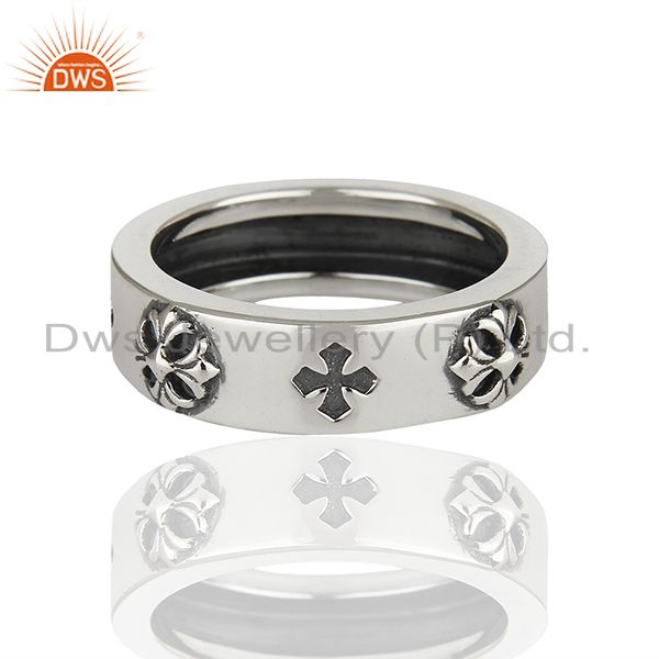 Exporter Solid 925 Sterling Silver Lucky Charm Mens Band Ring Manufacturer
