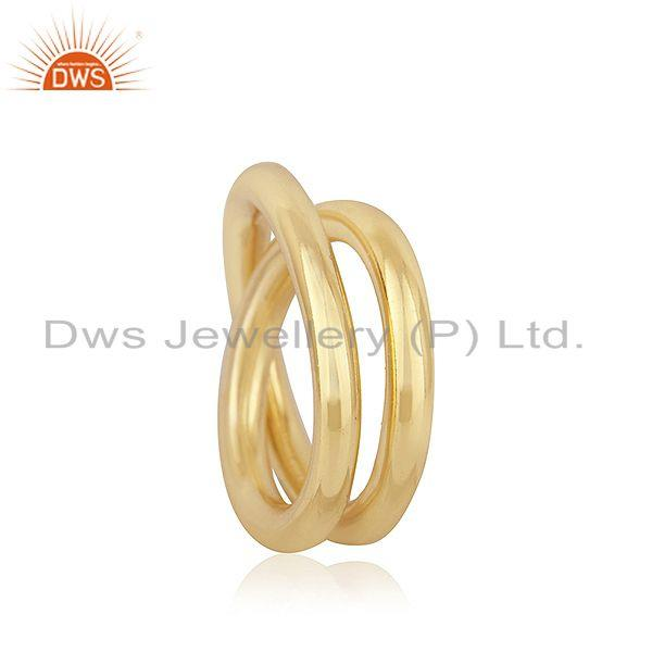 Exporter Handmade Simple Wire 925 Silver Yellow Gold Plated Unisex Ring Jewelry Supplier