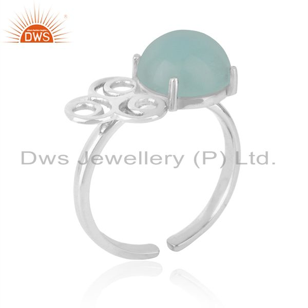 Supplier of Solid 925 Sterling Silver Chalcedony Gemstone Rings Manufacturers