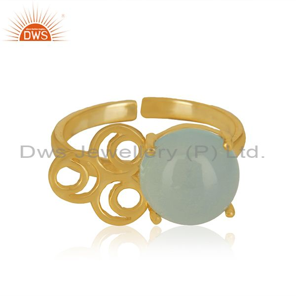 Wholesale Aqua Chalcedony Gemstone Gold Plated Solid Silver Rings Jewelry