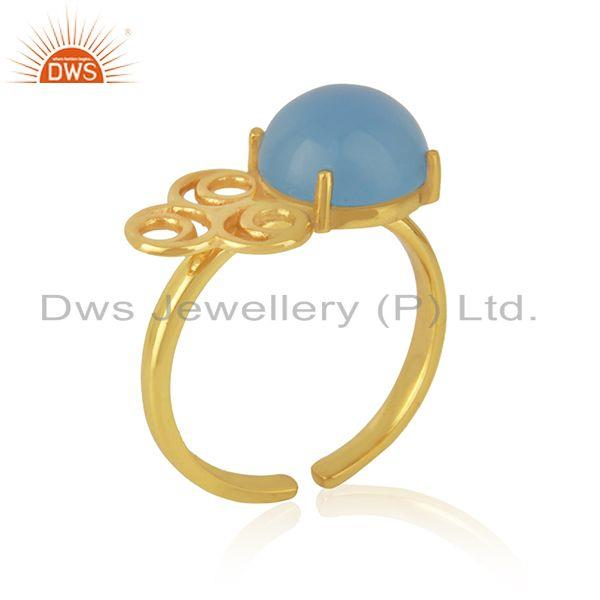 Manufacturer of Designer Gold Plated Blue Chalcedony Gemstone Ring Jewelry